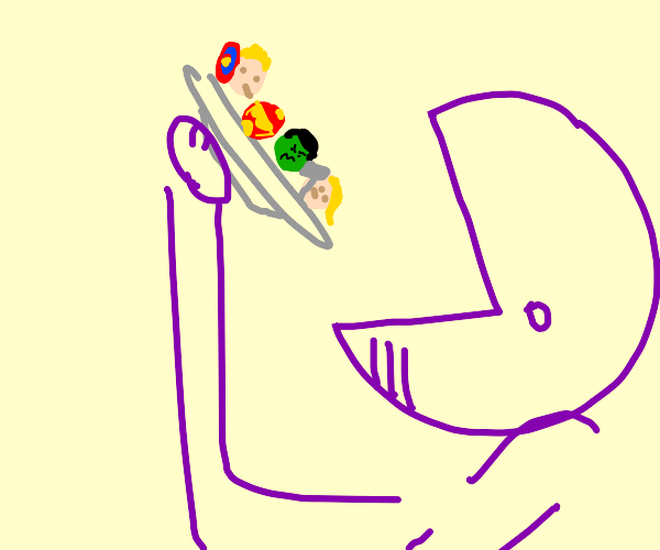 avengers being eaten on a plate by purple man