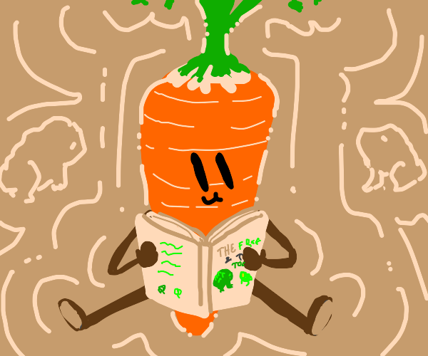 Carrot reads a book about frog & toad
