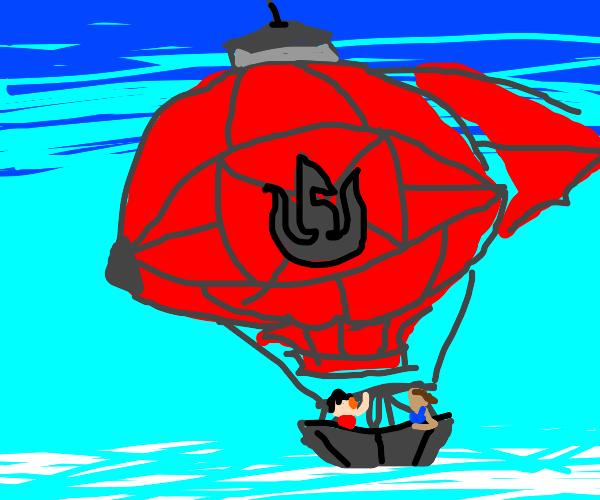 Two friends ride a hot-air balloon