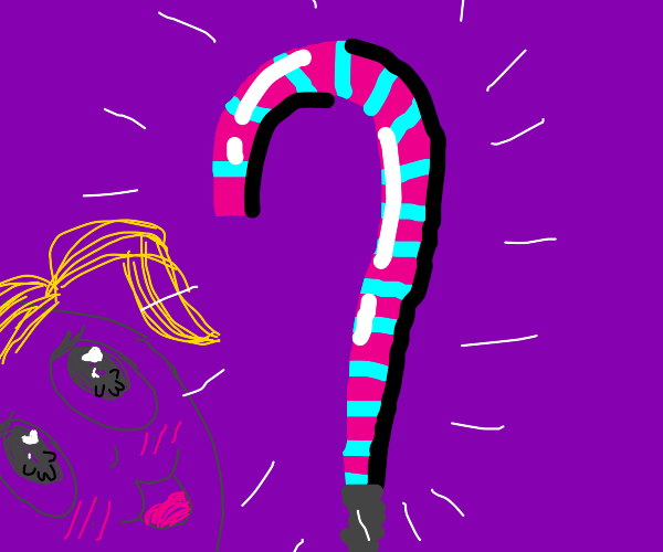 Cotton candy-flavored candy cane uwu