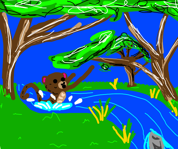monkey falls into a river
