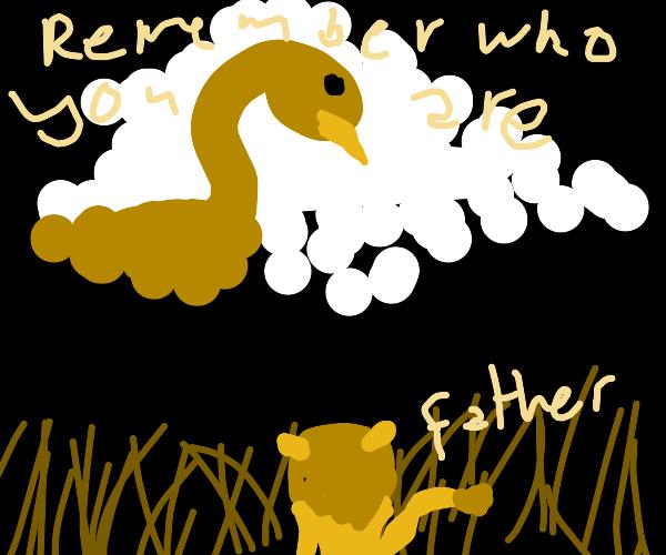 Goosefasa (Mufasa, but goose)