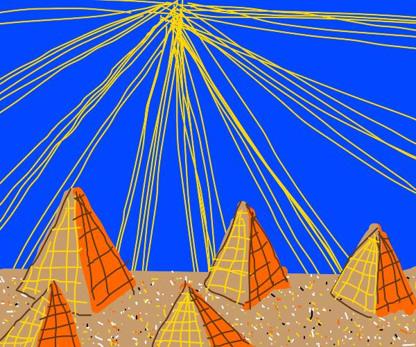 five pyramids in sunny desert