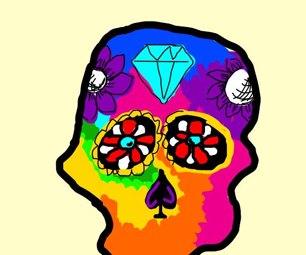 Dia de Los Muertos: Rainbow Colored Skull