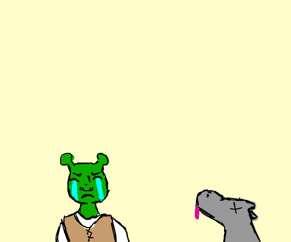shreck is sad because donkey is dead