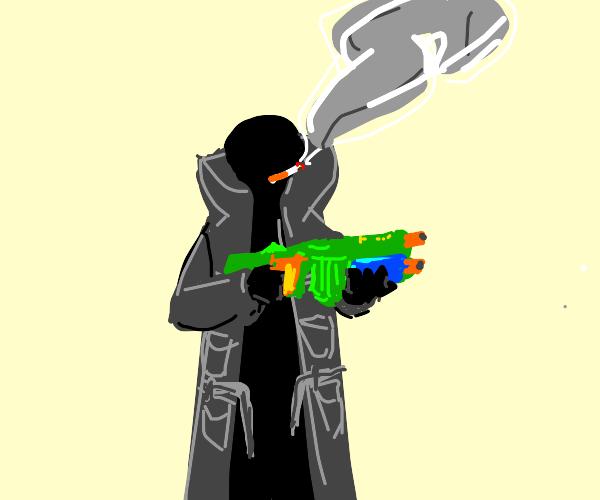 Smoking man in trench-coat has a NERF gun
