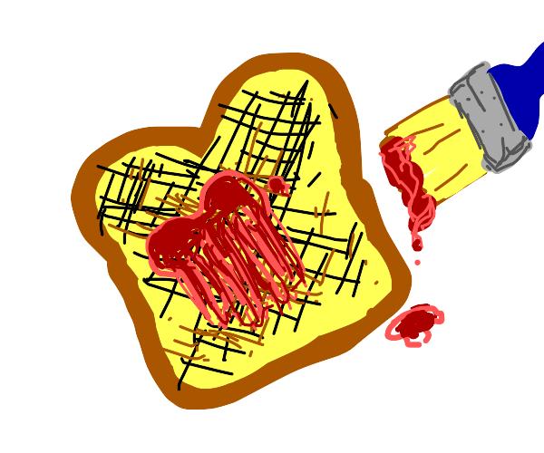 Painted jam on burnt toast