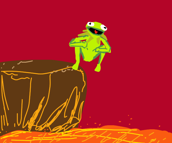 Kermit is about to jump in lava