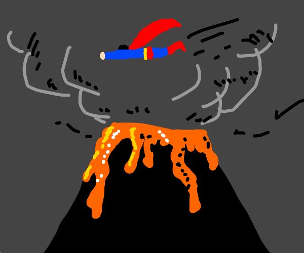 Superman flies over erupting volcano