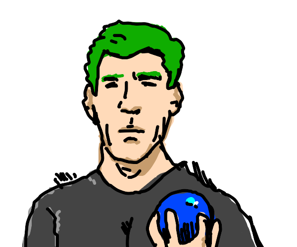 Man with green hair and blue ball