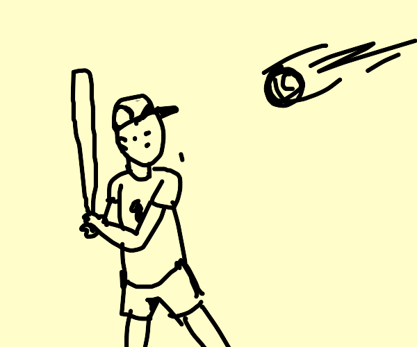 baseball player hitting a baseball