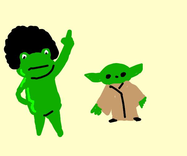 Toad w/ afro dances w/ baby yoda