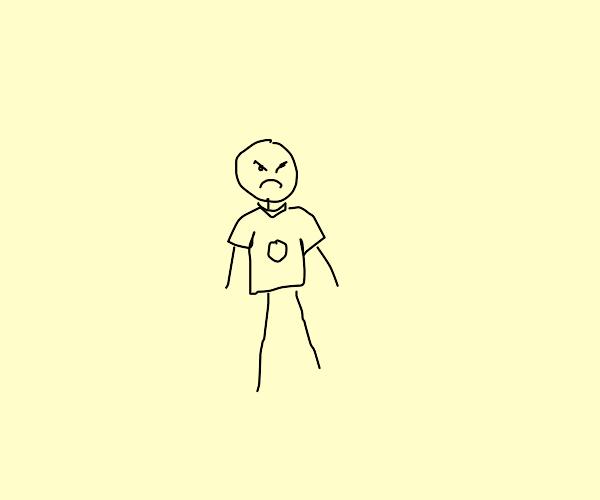 angy stickman wearing a shirt
