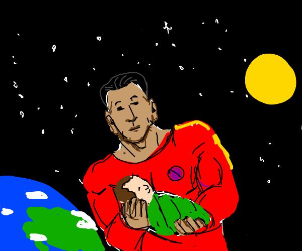 Superhero takes baby on trip around the world