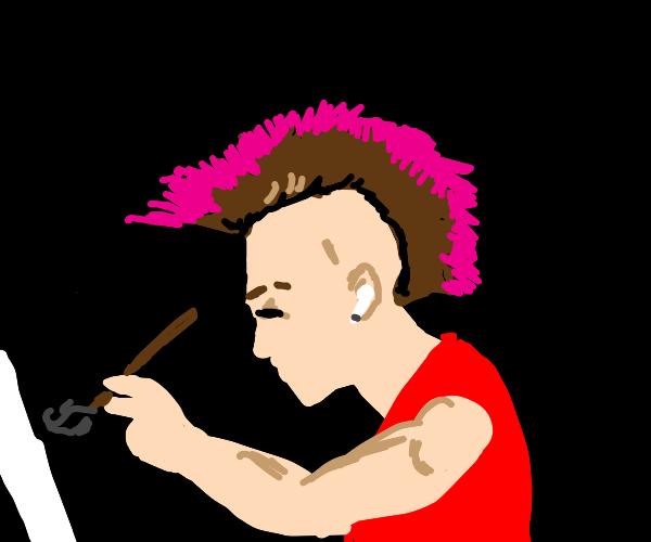 punk rocker drawing himself