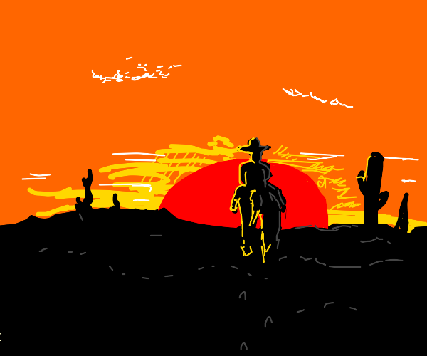 The Lone Cowboy in the Sunset