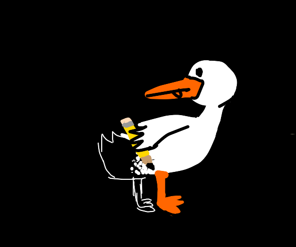 A duck drawing himself
