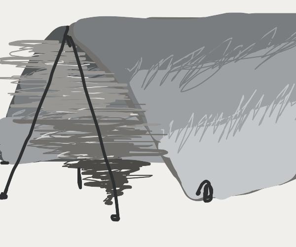 A tornado inside of a tent