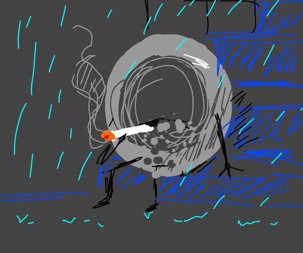 Ash tray smoking a cigarette