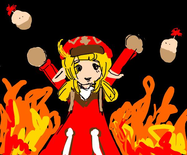 anime girl commits arson