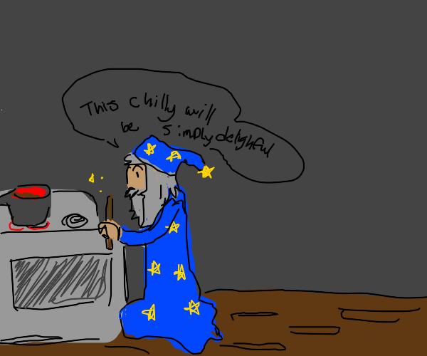 A wizard cooking chili