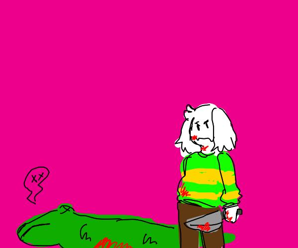 Asriel Dreemur kills alligator