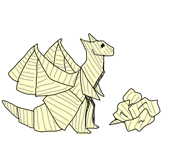 Origami dragon made of notebook paper