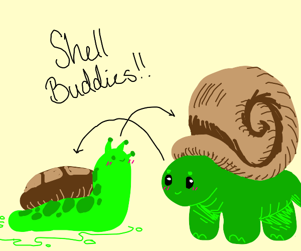 Snail and tortoise have their shells swapped