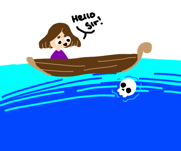 Girl in boat & skeleton with floating head