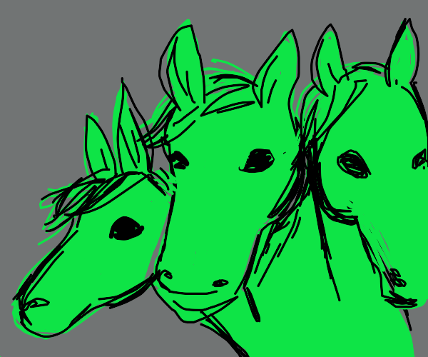 three-headed green horse