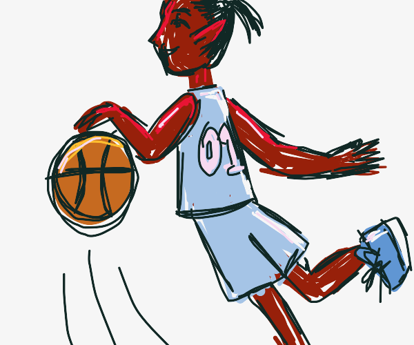 dark skinned elf playing basketball
