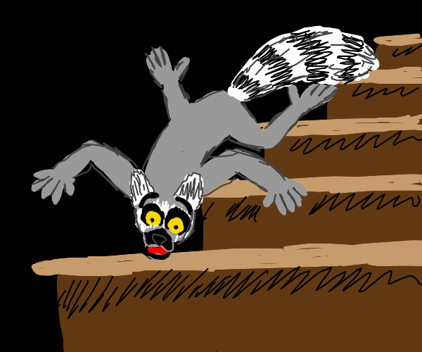 Ring-tailed Lemur falling down the stairs