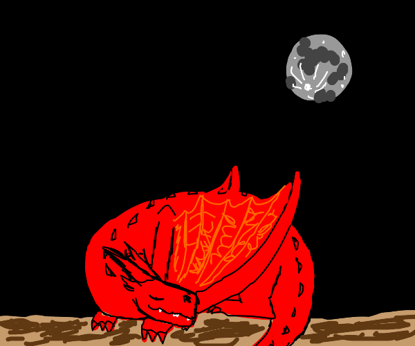 Red dragon laying down