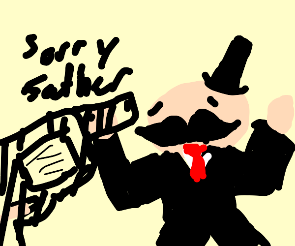 Monopoly Man held at gunpoint by son