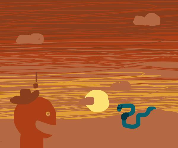 Woahh!!! It's a giant worm!! It seems happy?
