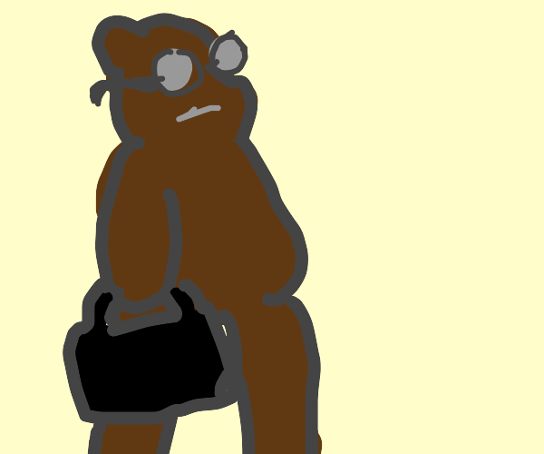 A bear with a glass and a suitcase