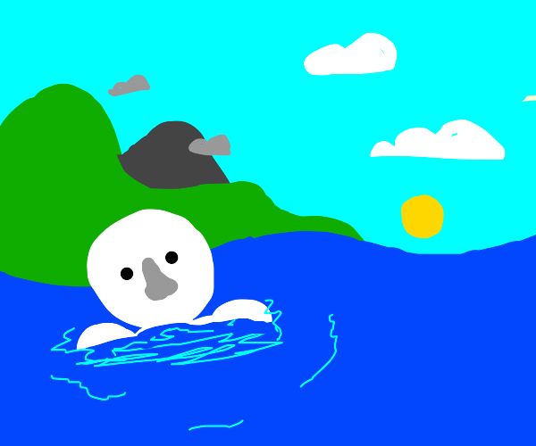Pale man in water