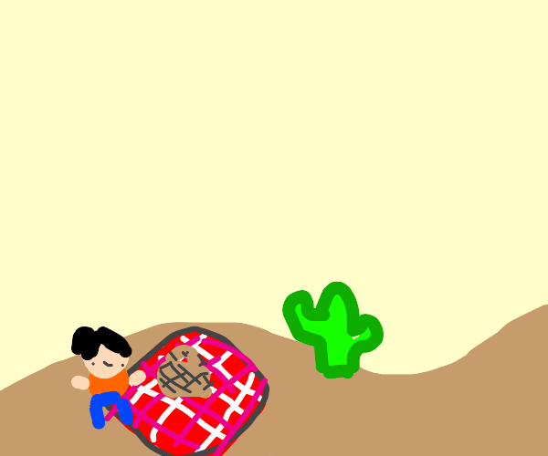 She had a nice picnic in the desert