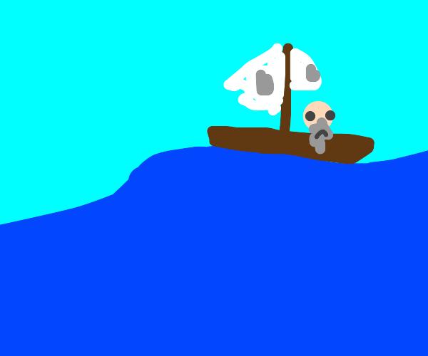 Stranded in a boat