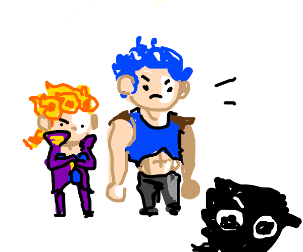 Giorno and Blue-haired man ridicule Jotaro