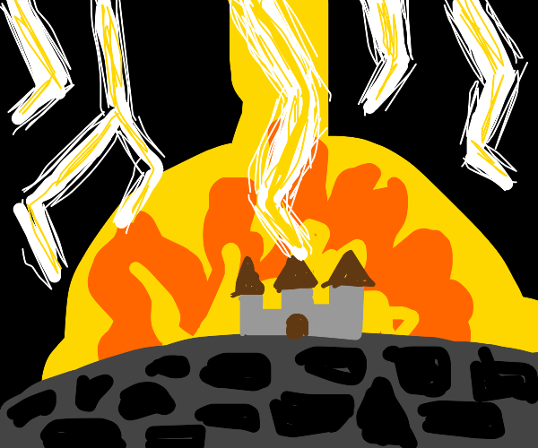lightning strikes castle, is on fire