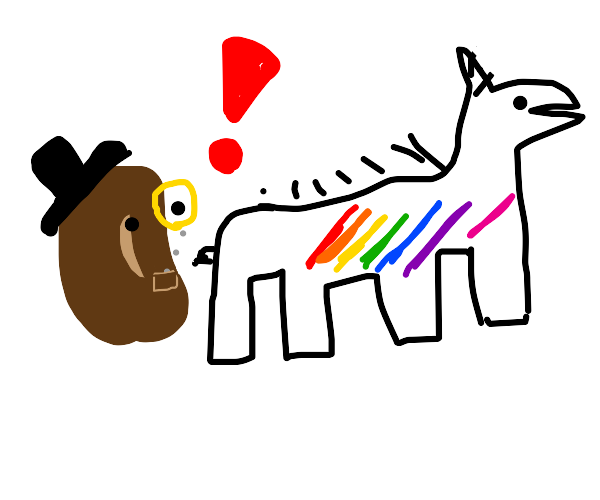Mr. bean is shocked by the rainbow unicorn