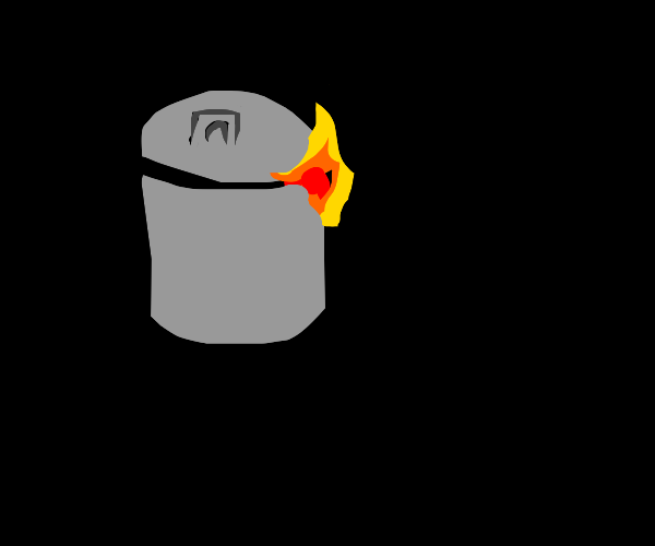 the trash can is on fire, IT'S ON FIRE