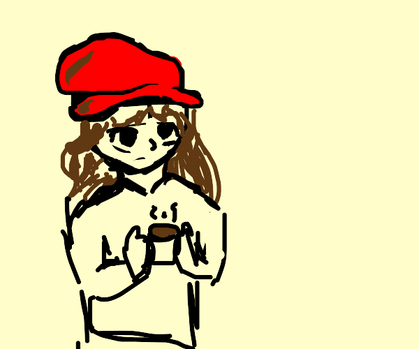 Girl with red hat drinks hot coffee