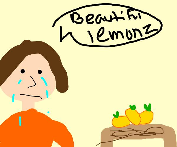 sad dude cries at some lemons