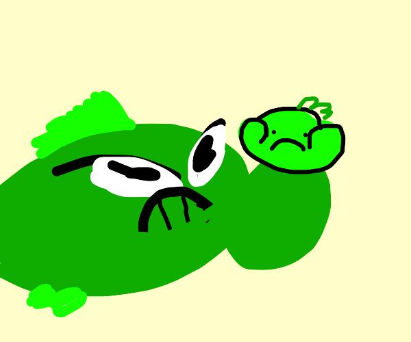 green fish squishing it's child