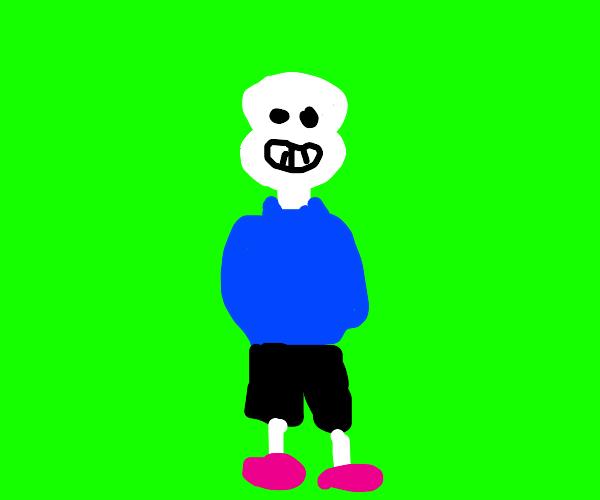 Happy skeleton is wearing pink slippers
