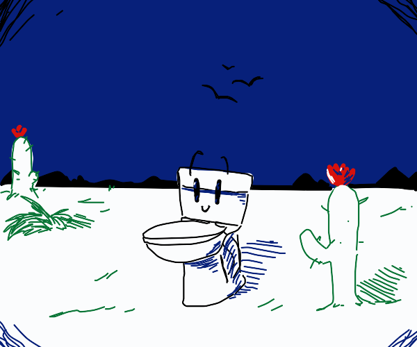 happy toilet in desert