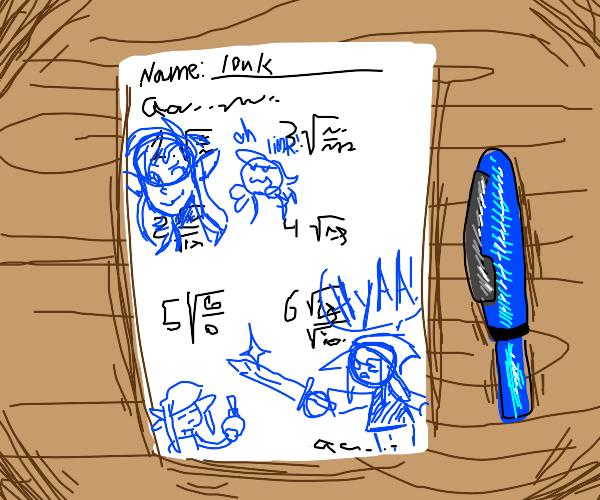 kid draws link on his homework