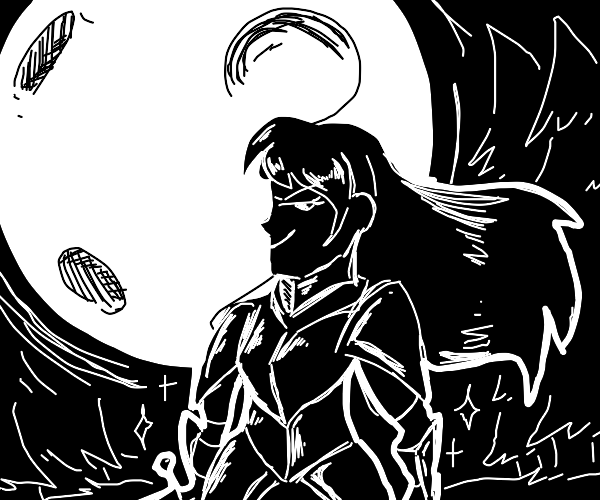Female knight in shining armor in moonlight
